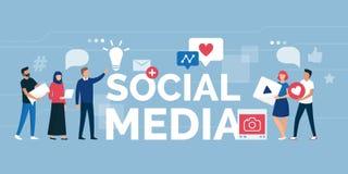 Люди и социальная община средств массовой информации онлайн иллюстрация вектора