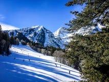 Люди катаясь на лыжах вниз с горы Стоковое Фото
