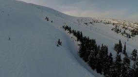 Люди катаясь на лыжах в горах среди хвойных деревьев, подъем лыжи Воздушная стрельба видеоматериал