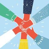 Люди кладя их руки совместно vector Стоковые Фото