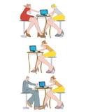 люди компьтер-книжки кофейни Стоковая Фотография