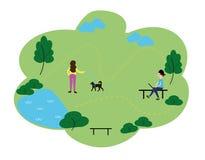 Люди которые наслаждаются часами досуга в парке, плоский комплект иллюстрации векторной графики стиля дизайна Знамя концепции общ иллюстрация вектора