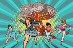 Люди, который побежали далеко от ядерного взрыва иллюстрация вектора