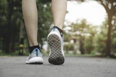 Люди крупного плана идя с ботинками спорта на дороге в парке для концепции здоровья стоковое изображение rf