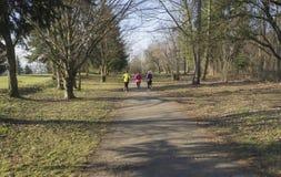 3 люди, молодые женщины и люд бежать или jogging на publick стоковые изображения