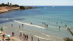 Люди моря пляжа сток-видео