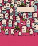 Люди мультфильма толпятся и счастливый День матери иллюстрация штока