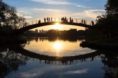 Люди наблюдая красочный заход солнца озером, парком Ibirapuera, Сан-Паулу, Бразилией Стоковое фото RF