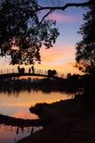 Люди наблюдая красочный заход солнца озером, парком Ibirapuera, Сан-Паулу, Бразилией Стоковые Изображения RF