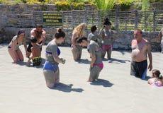 Люди наслаждаясь имеющ ванну грязи Стоковое Изображение