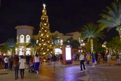 Люди наслаждаясь прогулкой ночи около рождественской елки в открытом торговом центре на области Buena Vista озера стоковые фото