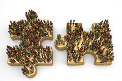 Люди на большой золотой головоломке иллюстрация 3d иллюстрация вектора