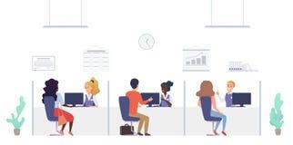 Люди на отделе изучения кредитоспособности клиентов в банке Офис консультации и обслуживания внутренний с вектором работников и к иллюстрация штока