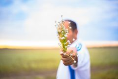 Люди нерезкости держат abeautiful букет flowe травы осени Стоковая Фотография RF