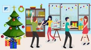 Люди не совсем чистого дела празднуя Новый Год в офисе, выпивая, танцуя и имея потеху на корпоративном офисе корпоративно иллюстрация вектора