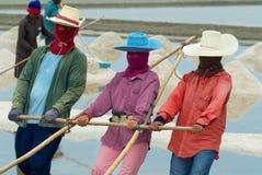 Люди носят соль на ферму соли в Huahin, Таиланде стоковая фотография