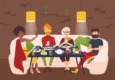 Люди одели в стильной одежде сидя на таблице ресторана и вытаращить на экранах их компьтер-книжки и smartphones иллюстрация штока