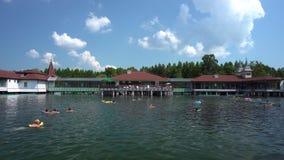 Люди плавают в озере Heviz акции видеоматериалы