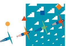 Люди плавая через цифровые облака иллюстрация штока