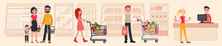 Люди покупают на моле Интерьер супермаркета иллюстрация вектора