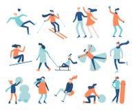 Люди потехи зимы Игры, sledding и сноуборд фестиваля снега Набор вектора сцен лыжи семьи рождества катаясь на коньках иллюстрация вектора