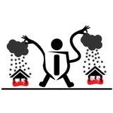 Люди пробуя положить вне горя дома Страхование от пожара Стоковые Изображения RF