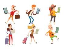 Люди путешественника ища правильное направление на векторе карты путешествуя свобода и активная концепция образа жизни характера Стоковые Фотографии RF
