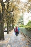 Люди путешественников идя на тропу около дороги в малом переулке Стоковая Фотография