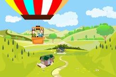 Люди путешествуют на воздушном шаре, взгляде сверху на ландшафте сельской местности Стоковые Фото