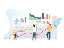 Люди работают в команде и взаимодействуют с диаграммами Дело, руководство, управление потока операций, ситуации офиса иллюстрация штока