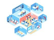 Люди работают в команде и достигают цели Бизнес-процессы и ситуации офиса Равновеликая иллюстрация вектора бесплатная иллюстрация