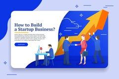 Люди работают в команде и достигают цели Планированиe бизнеса, идея проекта управление при допущениеи риска Шаблоны знамени вебса Стоковое Фото