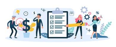 Люди работают совместно в команде Стратегия и дело бесплатная иллюстрация