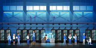 Люди работая в комнате центра данных хозяйничая иллюстрация вектора базы данных данным по контроля компьютер-сервера плоская бесплатная иллюстрация