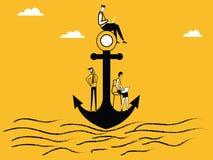 Люди работая на анкере корабля иллюстрация штока