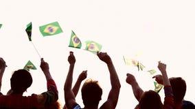 Люди развевая бразильские флаги outdoors акции видеоматериалы