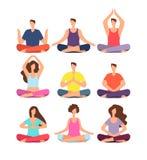 Люди раздумья Женщина и человек размышляя в группе в йоге или pilates классифицируют Изолированный комплект вектора характеров иллюстрация вектора