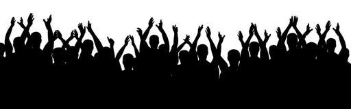 Люди рукоплескания Жизнерадостный веселить толпы руки вверх Вектор силуэта иллюстрация штока