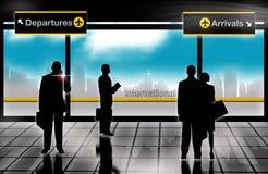 люди салона отклонений дела прибытий авиапорта иллюстрация вектора