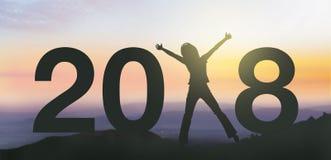 Люди силуэта счастливые на 2018 Новых Годов Стоковое Изображение RF