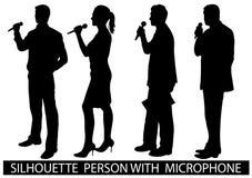 Люди силуэта с микрофоном Стоковое Изображение RF