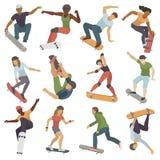 Люди скейтбордистов добиваться active действия спорта силуэтов вектор персоны скачки детенышей весьма skateboarding городской Стоковые Фотографии RF
