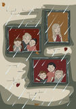Люди смотрят вне окно на дожде Стоковое Изображение