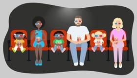 Люди смотря кино в кино Стоковые Изображения
