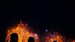 Люди смотря фейерверки в ночном небе, красочные фейерверки в честь праздника видеоматериал