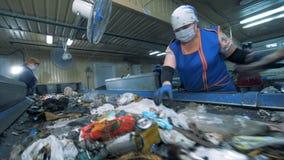 Люди сортируют отброс который идет на транспортеры в заводе по переработке вторичного сырья акции видеоматериалы