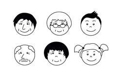 Люди стареют значки Сторона бабушки, деда, мальчика и девушки иллюстрация штока