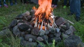 Люди стоя вокруг камина с горя деревянными пламенами сток-видео