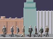 Люди с зданиями стоковые фотографии rf