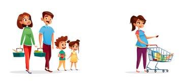 Люди с иллюстрацией шаржа вектора магазинных тележкеа иллюстрация штока